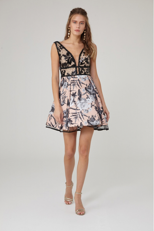 Print y08 satin sleeveless mini dress