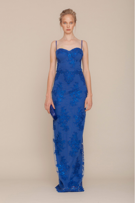 Sax lace sleeveless maxi dress