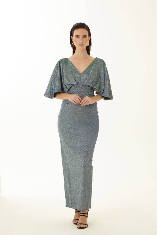 Sax velvet 13 short sleeve maxi dress
