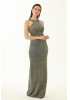 Green velvet 13 sleeveless maxi dress