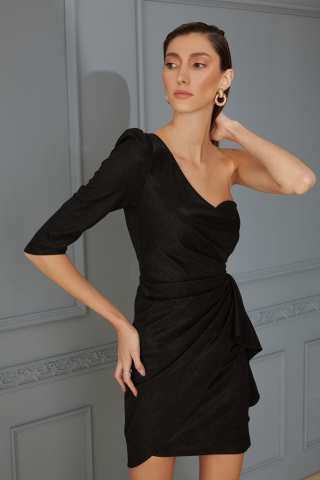 Black velvet 13 single sleeve mini dress