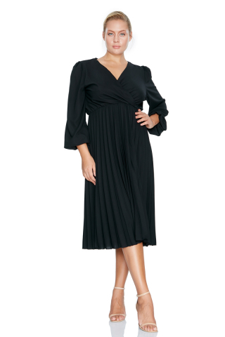 Black plus size crepe long sleeve midi dress