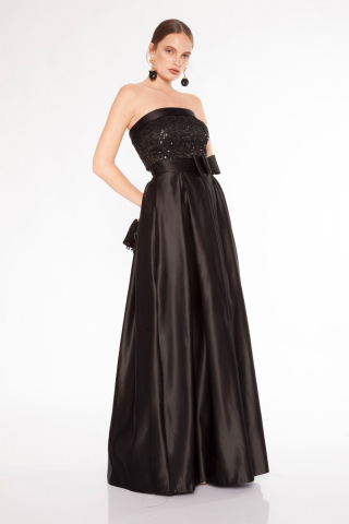 Black satin strapless long dress