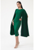 Green crepe long sleeve midi dress