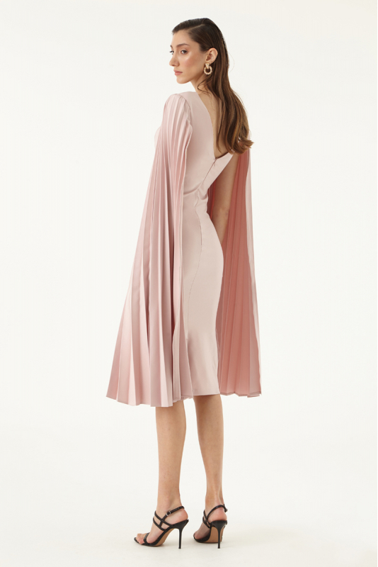Powder crepe long sleeve midi dress