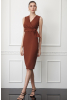 Brown crepe sleeveless midi dress