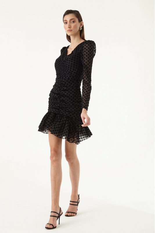 Black tulle long sleeve mini dress