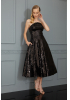 Black sequined strapless midi dress