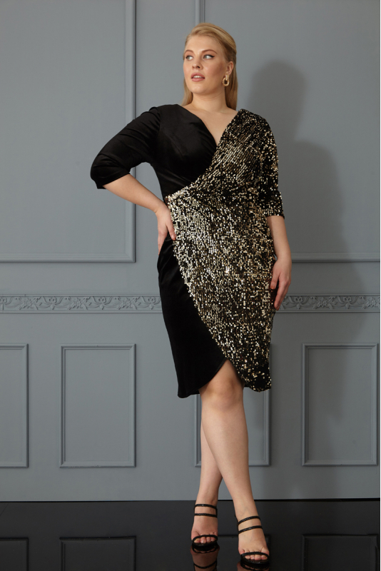 Gold plus size dress