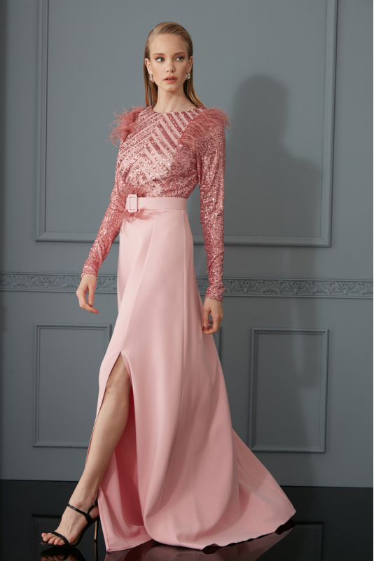 New powder pink maxi dress