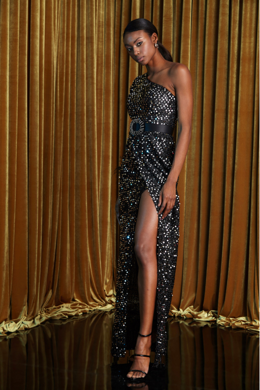 Silver sequined maxi dress