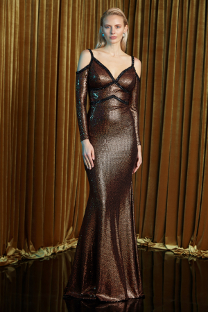 Copper sequined long sleeve maxi dress