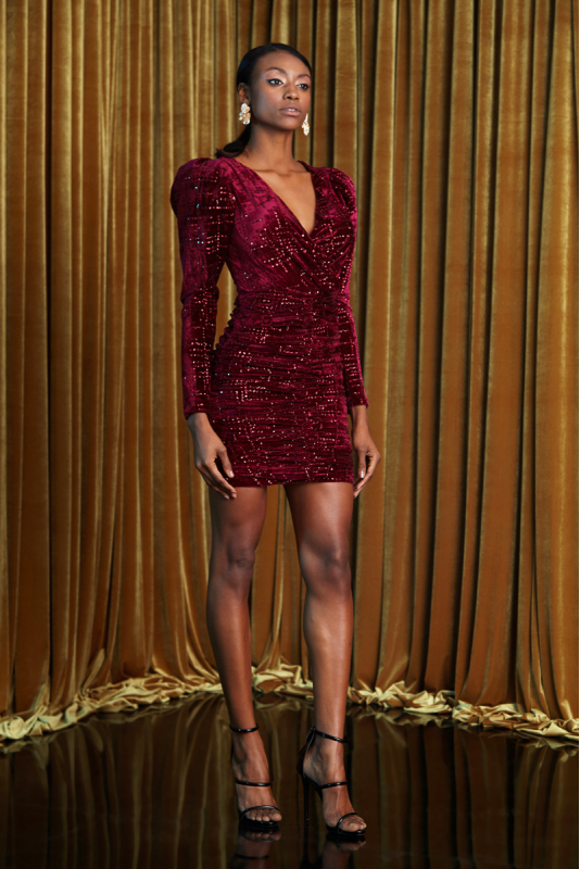 Claret red velvet long sleeve mini dress