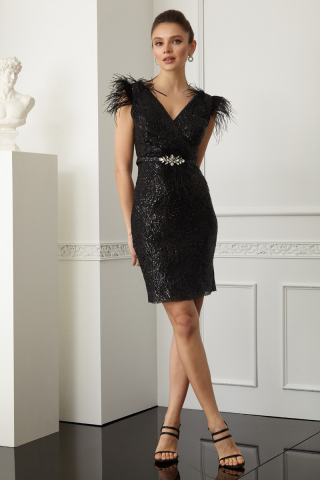 Black sequined sleeveless mini dress