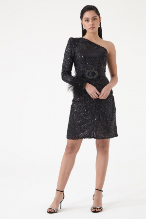 Black sequined single sleeve mini dress