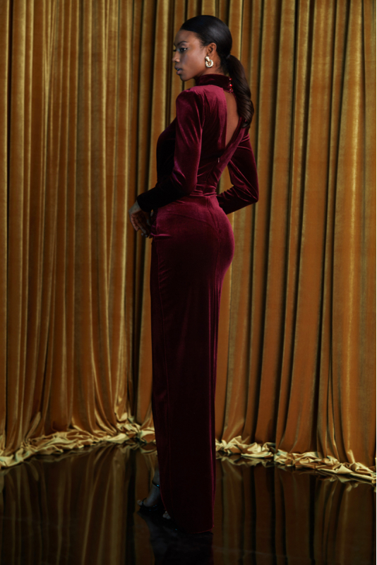 Claret red velvet long sleeve maxi dress