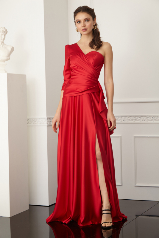 Red satin single sleeve maxi dress