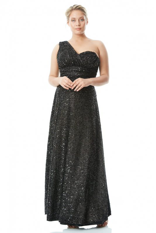Black plus size sequined single sleeve maxi dress