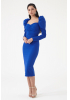 Sax crepe long sleeve midi dress