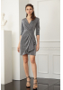 Silver knitted long sleeve mini dress