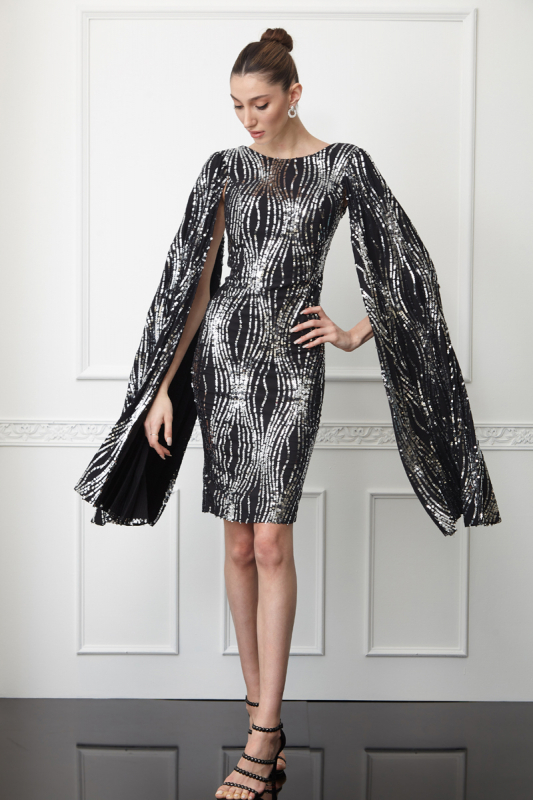 Print y61 sequined crepe long sleeve midi dress