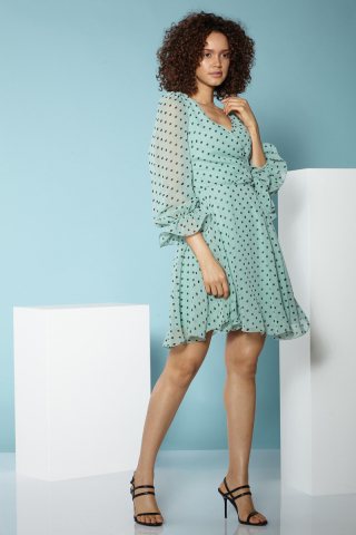 Print f79 chiffon short sleeve midi dress