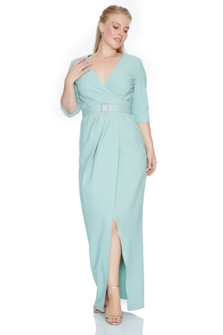 Mint green plus size crepe 3/4 sleeve maxi dress