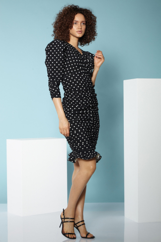 Print f77 long sleeve mini dress