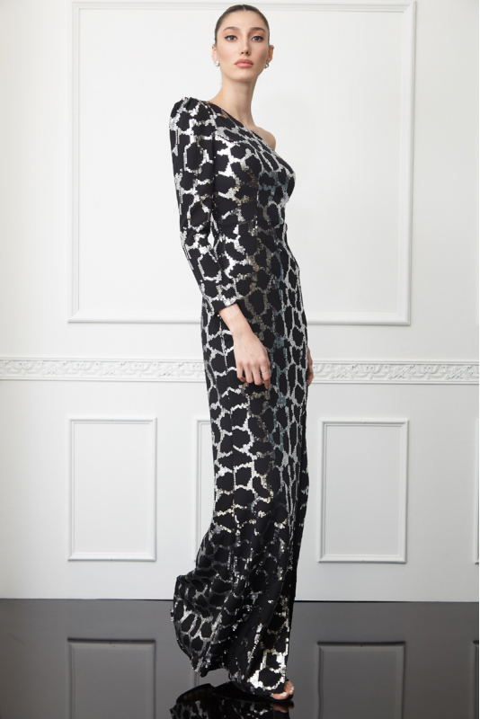 Printy62 sequined crepe single sleeve maxi dress