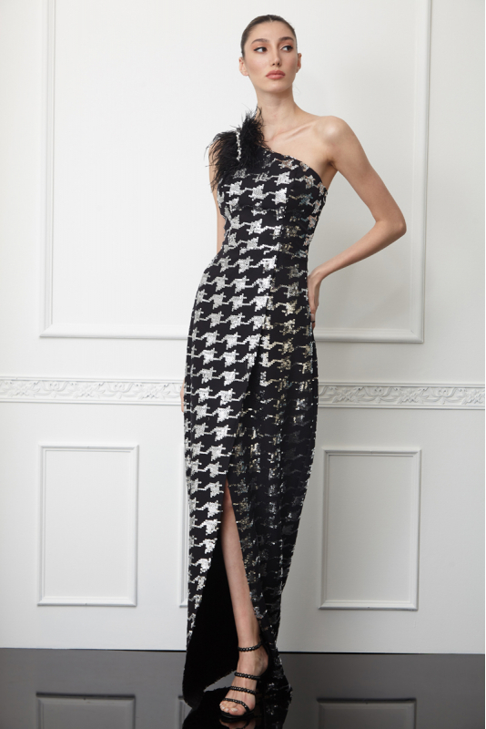 Print y63 sequined crepe single sleeve maxi dress