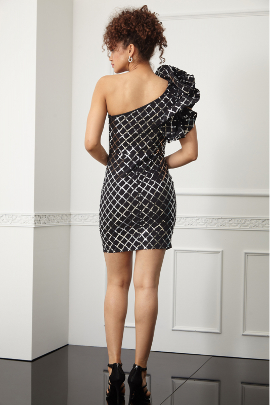 Print y57 sequined crepe single sleeve mini dress
