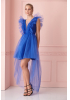 Sax tulle sleeveless mini dress