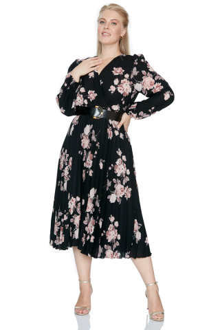 Print d65 plus size crepe long sleeve midi dress