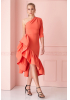 Orange crepe single sleeve midi dress