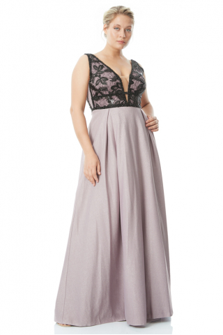 Lilac plus size knitted sleeveless maxi dress
