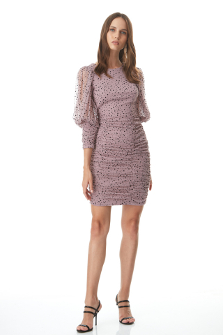 Dusty rose 020 tulle long sleeve mini dress