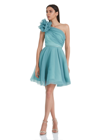 Mint green tulle single sleeve mini dress