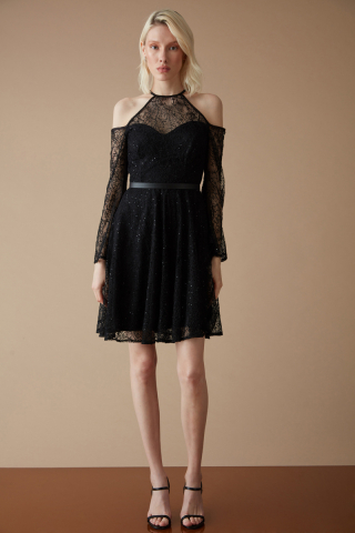 Black lace sleeveless mini dress