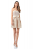 Beige crepe strapless mini dress