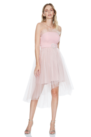 New powder pink tulle strapless midi dress