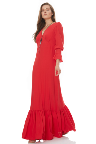 Red woven long sleeve maxi dress
