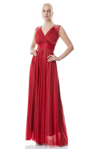 Red tulle sleeveless maxi dress
