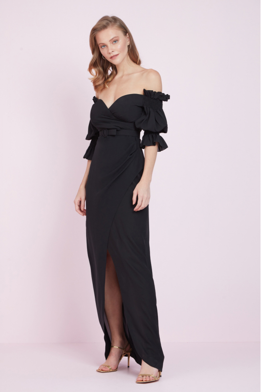 Black crepe short sleeve maxi dress