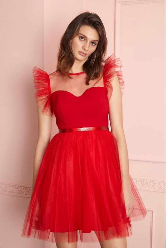 Red tulle sleeveless mini dress