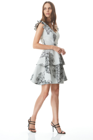 Silver jacquard sleeveless mini dress