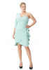 Mint green plus size crepe single sleeve mini dress