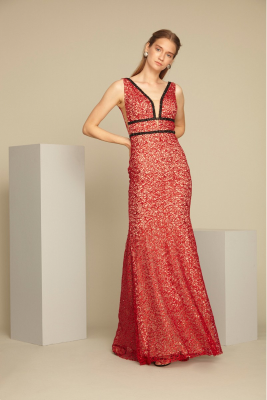 Red sequined sleeveless maxi dress