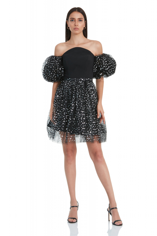 Black sequined crepe short sleeve mini dress