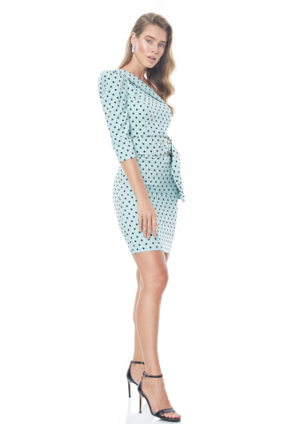 Print y79 crepe single sleeve mini dress