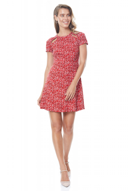 Red knitted 3/4 sleeve midi dress